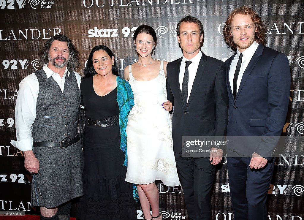 Executive producer Ronald Moore, author <a gi-track='captionPersonalityLinkClicked' href=/galleries/search?phrase=Diana+Gabaldon&family=editorial&specificpeople=1055806 ng-click='$event.stopPropagation()'>Diana Gabaldon</a>, actress <a gi-track='captionPersonalityLinkClicked' href=/galleries/search?phrase=Caitriona+Balfe&family=editorial&specificpeople=4359165 ng-click='$event.stopPropagation()'>Caitriona Balfe</a>, actor <a gi-track='captionPersonalityLinkClicked' href=/galleries/search?phrase=Tobias+Menzies&family=editorial&specificpeople=2276826 ng-click='$event.stopPropagation()'>Tobias Menzies</a> and actor <a gi-track='captionPersonalityLinkClicked' href=/galleries/search?phrase=Sam+Heughan&family=editorial&specificpeople=6931997 ng-click='$event.stopPropagation()'>Sam Heughan</a> attend the 'Outlander' series screening at 92nd Street Y on July 28, 2014 in New York City.