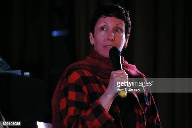 Executive Producer Sabrina S Sutherland answer questions on stage with the cast of Twin Peaks during the Twin Peaks UK Festival 2017 at Hornsey Town...