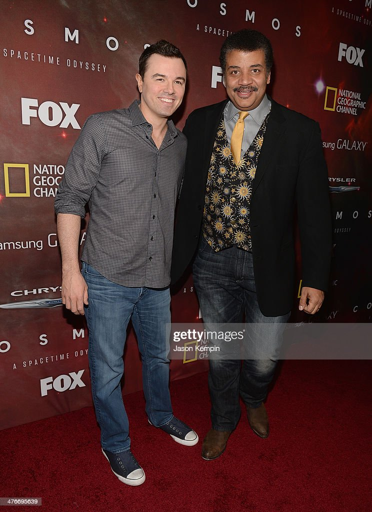 Executive Producer <a gi-track='captionPersonalityLinkClicked' href=/galleries/search?phrase=Seth+MacFarlane&family=editorial&specificpeople=549856 ng-click='$event.stopPropagation()'>Seth MacFarlane</a> and host Neil deGrasse Tyson attend the premiere of Fox's 'Cosmos: A SpaceTime Odyssey' at The Greek Theatre on March 4, 2014 in Los Angeles, California.
