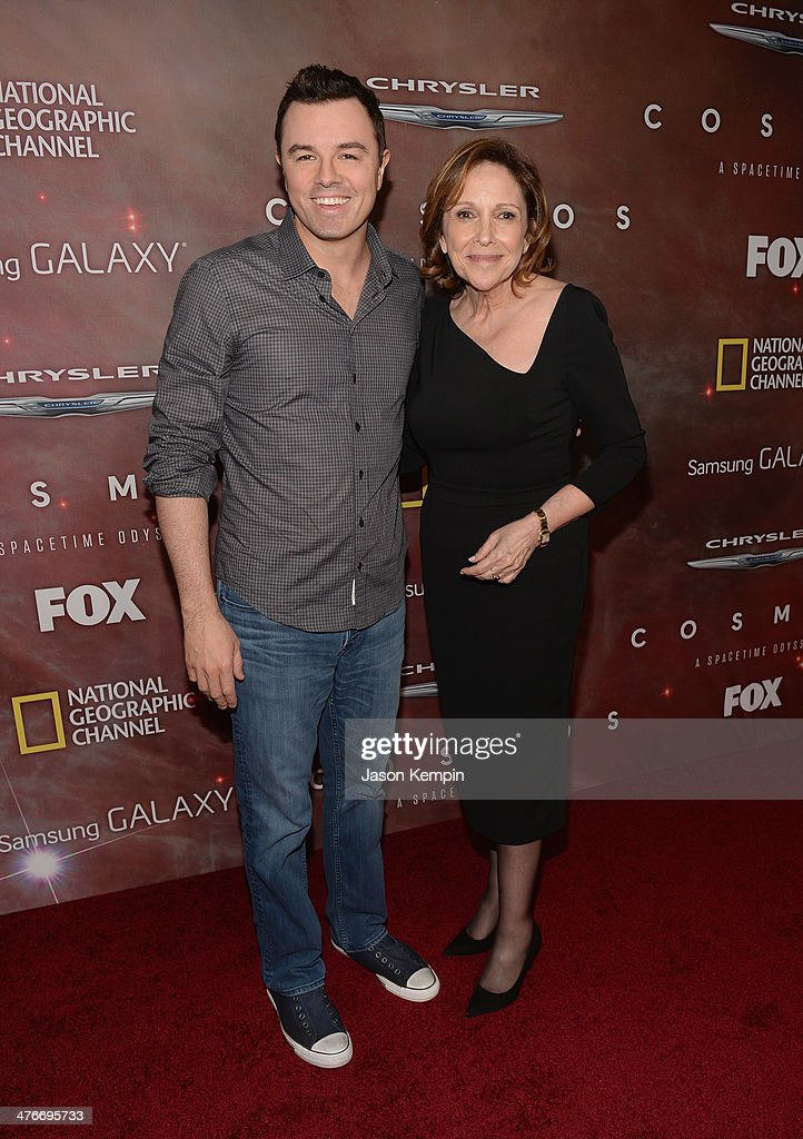 Executive Producer <a gi-track='captionPersonalityLinkClicked' href=/galleries/search?phrase=Seth+MacFarlane&family=editorial&specificpeople=549856 ng-click='$event.stopPropagation()'>Seth MacFarlane</a> and Writer, Executive Producer and Director Ann Druyan attend the premiere of Fox's 'Cosmos: A SpaceTime Odyssey' at The Greek Theatre on March 4, 2014 in Los Angeles, California.