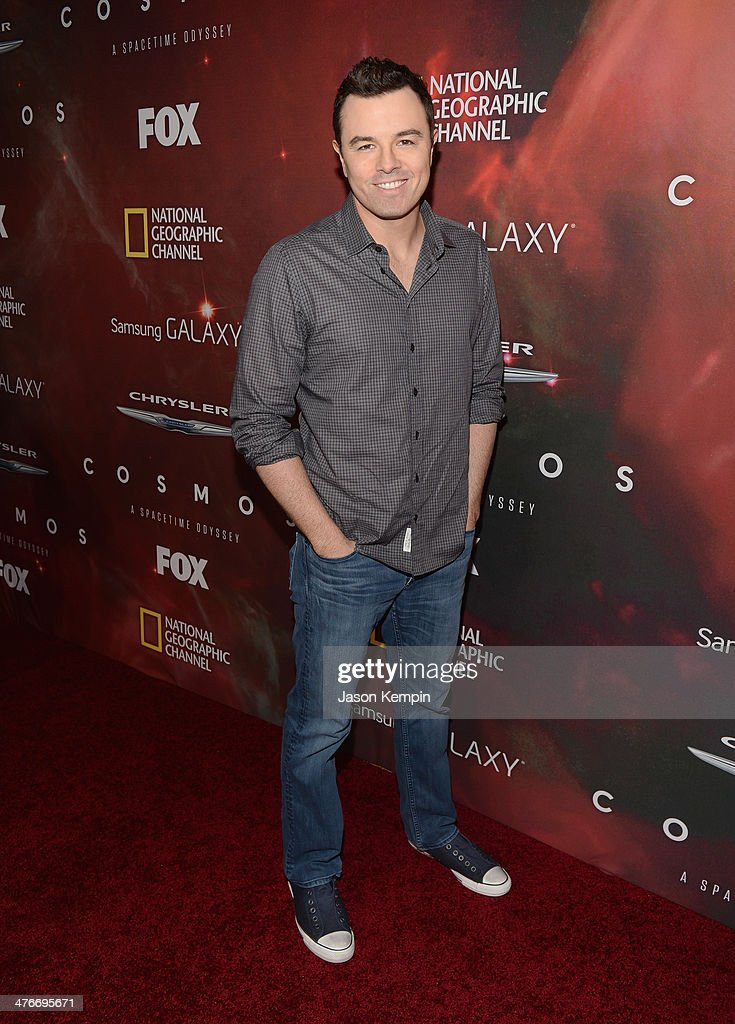 Executive Producer <a gi-track='captionPersonalityLinkClicked' href=/galleries/search?phrase=Seth+MacFarlane&family=editorial&specificpeople=549856 ng-click='$event.stopPropagation()'>Seth MacFarlane</a> attends the premiere of Fox's 'Cosmos: A SpaceTime Odyssey' at The Greek Theatre on March 4, 2014 in Los Angeles, California.