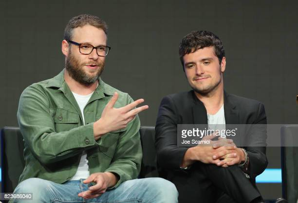 Executive producer Seth Rogen and actor Josh Hutcherson speak onstage during Summer TCA at The Beverly Hilton Hotel on July 27 2017 in Beverly Hills...