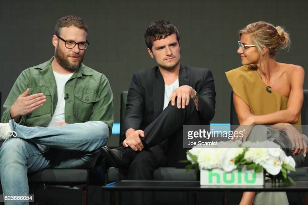Executive producer Seth Rogen and actors Josh Hutcherson and Eliza Coupe speak onstage during Summer TCA at The Beverly Hilton Hotel on July 27 2017...