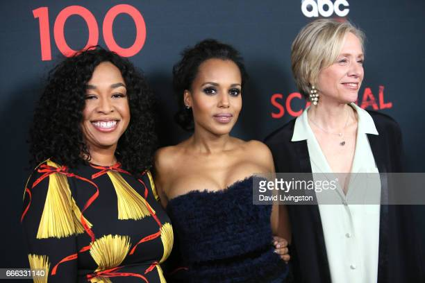 Executive producer Shonda Rhimes actress Kerry Washington and executive producer Betsy Beers attend ABC's 'Scandal' 100th Episode Celebration at Fig...