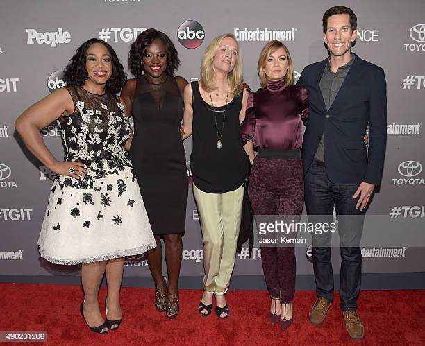 Executive Producer Shonda Rhimes actress Viola Davis producer Betsy Beers actress Ellen Pompeo and TV writer Peter Nowalk attend the Celebration of...