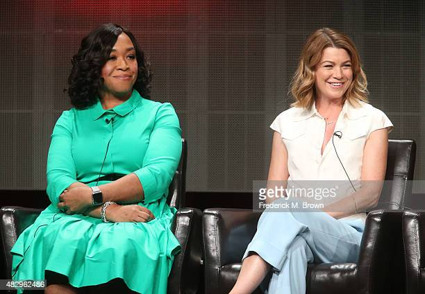 Executive producer Shonda Rhimes and actress Ellen Pompeo speak onstage during the 'Grey's Anatomy' 'Scandal' and 'How To Get Away With Murder' panel...