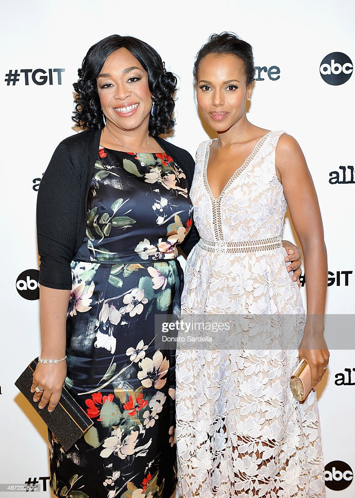 Executive producer Shonda Rhimes and actress Kerry Washington attend 'MaxMara Allure Celebrate ABC's #TGIT' at MaxMara on November 14 2015 in Beverly...