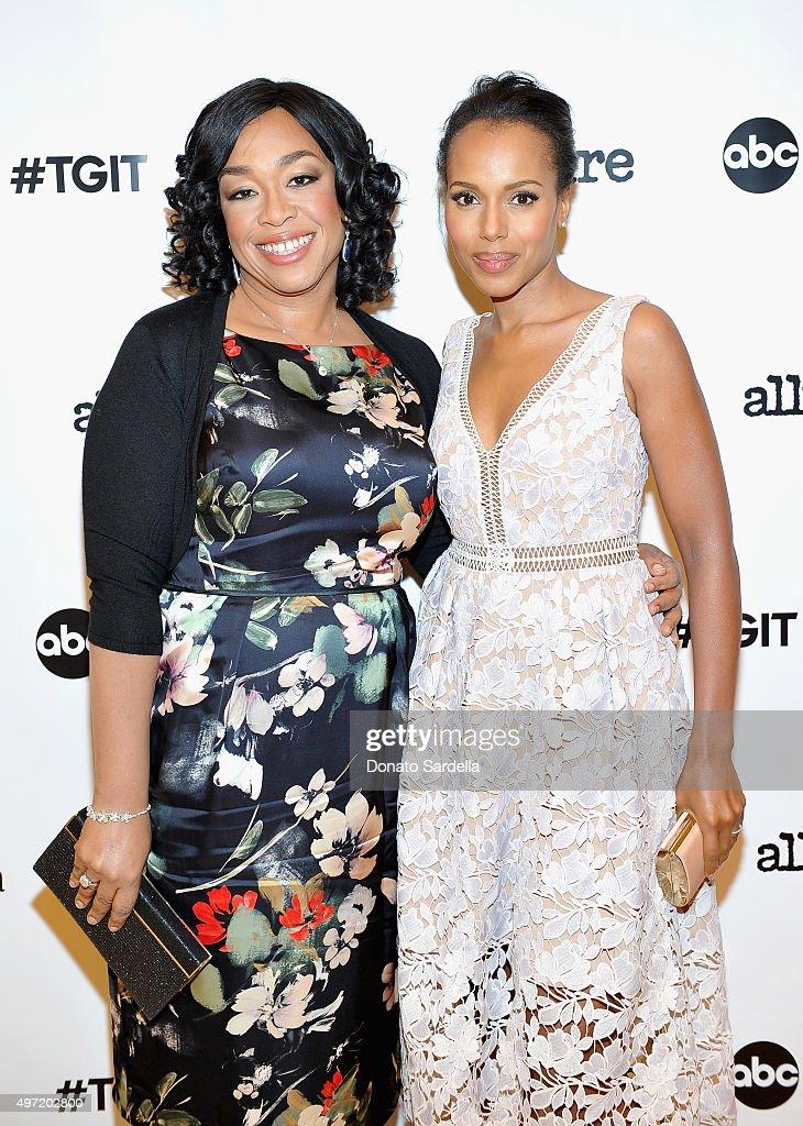 Executive producer Shonda Rhimes (L) and actress Kerry Washington attend 'MaxMara & Allure Celebrate ABC's #TGIT' at MaxMara on November 14, 2015 in Beverly Hills, California.