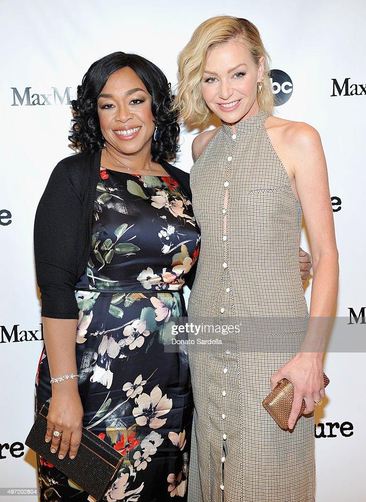 Executive producer Shonda Rhimes (L) and actress Portia de Rossi attend 'MaxMara & Allure Celebrate ABC's #TGIT' at MaxMara on November 14, 2015 in Beverly Hills, California.