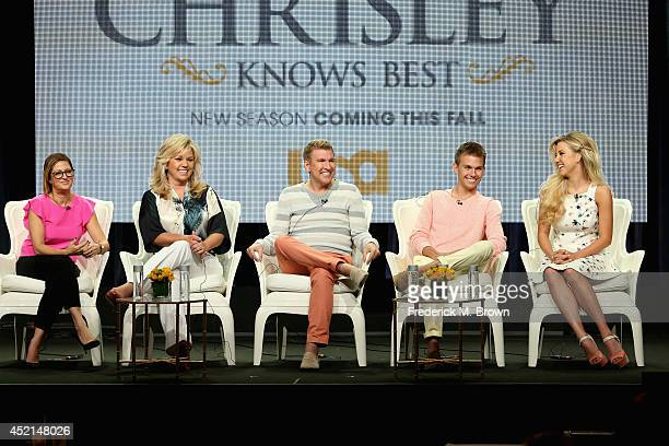 Executive producer Stephanie Bloch Chambers TV personalities Julie Chrisley Todd Chrisley Chase Chrisley and Savannah Chrisley speak onstage at the...