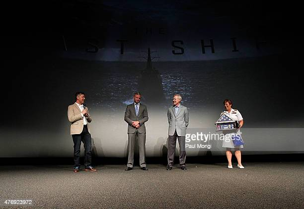 Executive Producer Steven Kane The Secretary of the Navy Ray Mabus and Admiral Dawn Cutler present actor Eric Dane with a Shadow Box containing Navy...