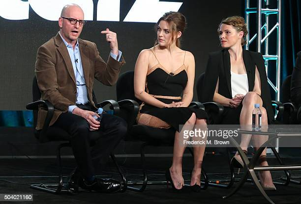 Executive Producer Steven Soderbergh actress Riley Keough and Amy Seimetz executive producer/writer/director speak onstage during The Girlfriend...