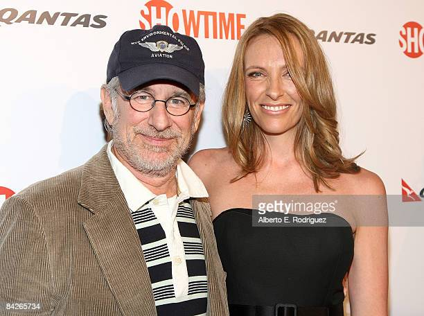 Executive producer Steven Spielberg and actress Toni Collette arrive at the premiere of Showtime's 'United States of Tara' at the DGA Theater on...