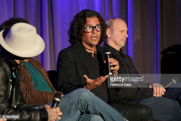 Executive producer Stevie Salas and musician Wayne KramerÊspeak onstage at Reel to Reel Rumble The Indians Who Rocked The World Featuring a...