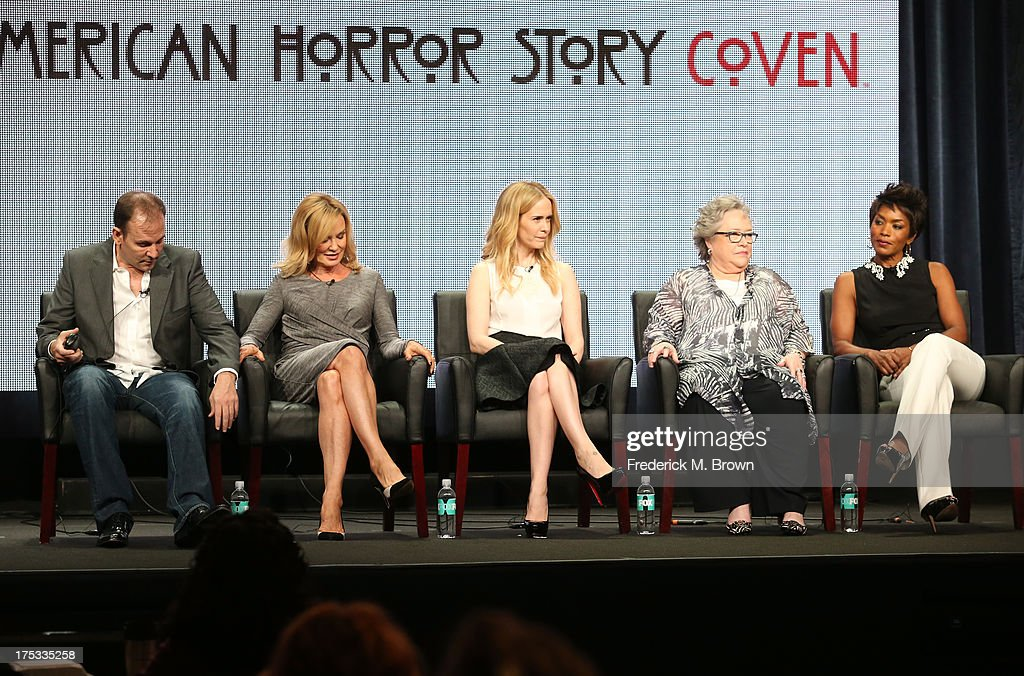 Executive Producer Tim Minear and actresses Jessica Lange, Sarah Paulson, Kathy Bates, and Angela Bassett speak onstage during the 'American Horror Story: Coven' panel discussion at the FX portion of the 2013 Summer Television Critics Association tour - Day 10 at The Beverly Hilton Hotel on August 2, 2013 in Beverly Hills, California.