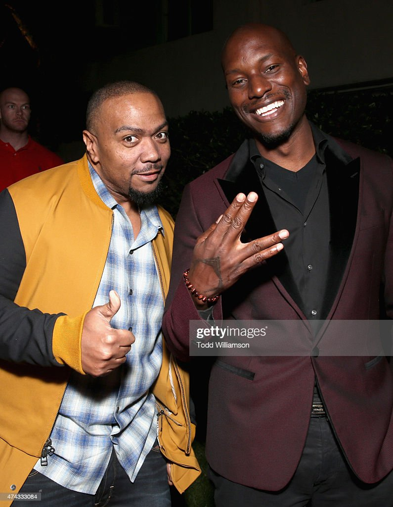 Executive producer Timbaland (L) and actor Tyrese Gibson attend the FOX Los Angeles Screenings Party 2015 on the Fox Studio Lot on May 21, 2015 in Los Angeles, California.