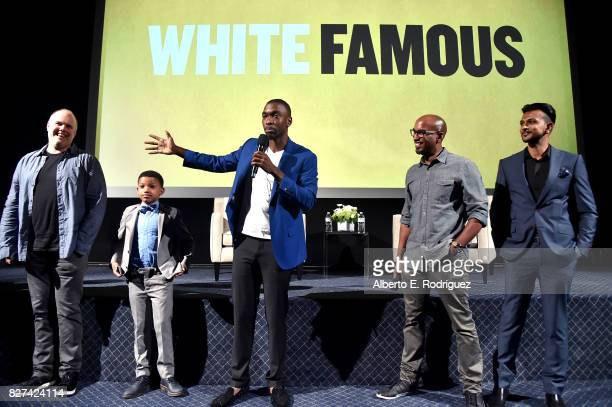 Executive Producer Tom Kapinos and actors Lonnie Chavis and Jay Pharoah Executive Producer Tim Story and actor Utkarsh Ambudkar of 'White Famous'...