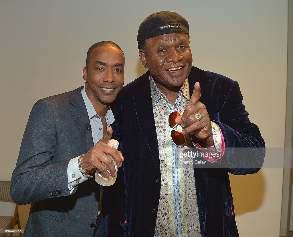 Executive Producer TV One's 'Belles' Miguel Nunez Jr. (L) and comedian George Wallace attend the taping of TV One's 'Washington Watch With Roland Martin' Hollywood Special at KCET Studios on January 31, 2013 in Hollywood, California.