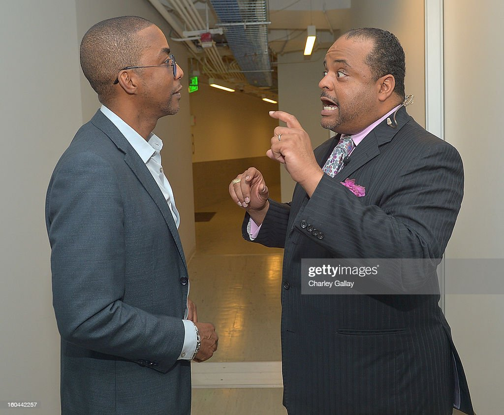 Executive Producer TV One's 'Belles' Miguel Nunez Jr. (L) and host Roland Martin attend the taping of TV One's 'Washington Watch With Roland Martin' Hollywood Special at KCET Studios on January 31, 2013 in Hollywood, California.
