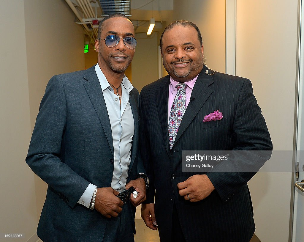 Executive Producer TV One's 'Belles' Miguel Nunez Jr. (L) and host <a gi-track='captionPersonalityLinkClicked' href=/galleries/search?phrase=Roland+Martin&family=editorial&specificpeople=5490103 ng-click='$event.stopPropagation()'>Roland Martin</a> attend the taping of TV One's 'Washington Watch With <a gi-track='captionPersonalityLinkClicked' href=/galleries/search?phrase=Roland+Martin&family=editorial&specificpeople=5490103 ng-click='$event.stopPropagation()'>Roland Martin</a>' Hollywood Special at KCET Studios on January 31, 2013 in Hollywood, California.
