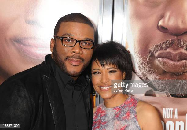 Executive producer Tyler Perry and writer/director Tina Gordon Chism arrive at the premiere of 'Peeples' presented by Lionsgate Film and Tyler Perry...