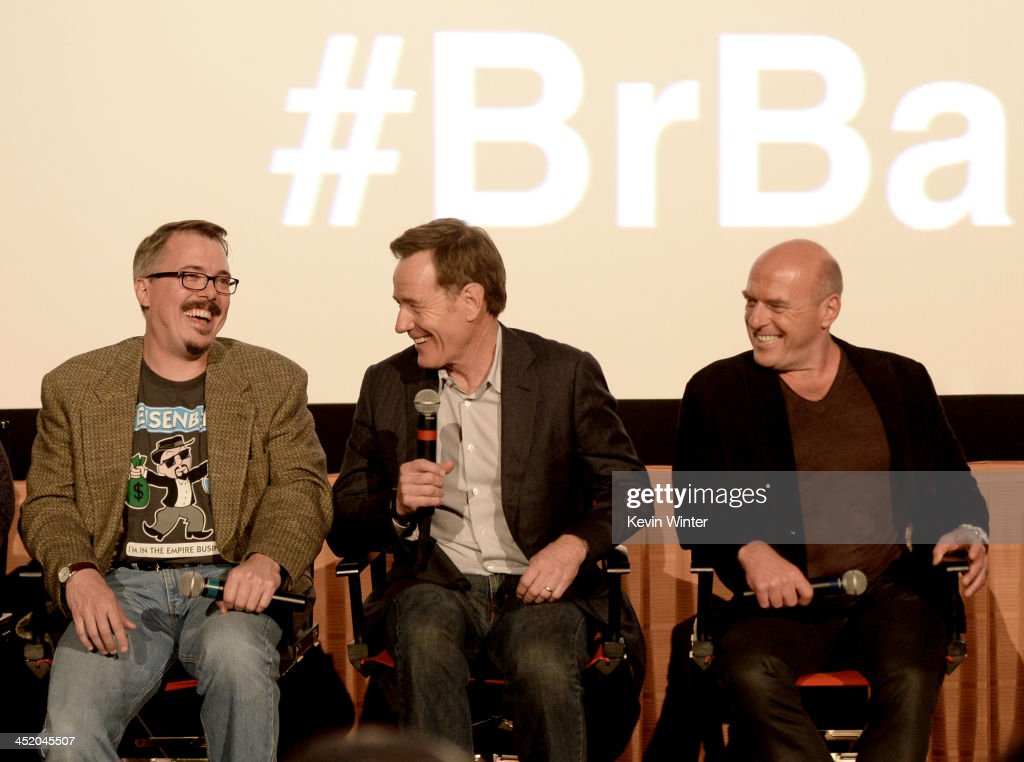 Executive Producer Vince Gilligan actors Bryan Cranston and Dean Norris speak at a Q A session after a screening of 'No Half Measures Creating The...