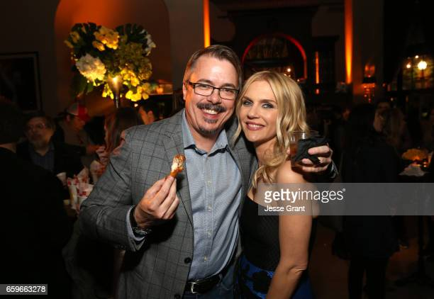 Executive Producer Vince Gilligan and actor Rhea Seehorn attend AMC's 'Better Call Saul' season 3 premiere at ArcLight Cinemas on March 28 2017 in...