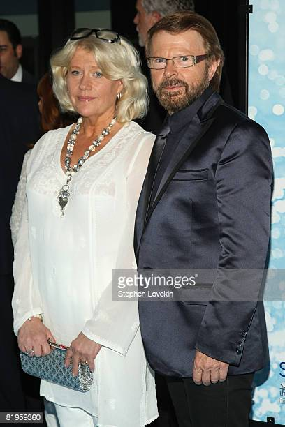 Executive Producer/ABBA founding member Bjorn Ulvaeus and his wife Lena Kallersjo attends the American premiere of 'Mamma Mia' at the Ziegfeld...
