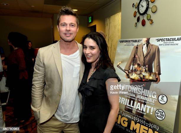 Executive producer/actor Brad Pitt and producer/director Rachel Boynton pose at the after party for a special screening of the documentary 'Big Men'...