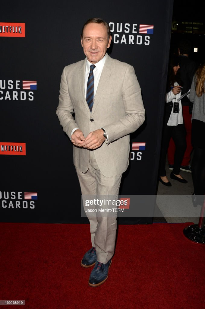 Executive producer/actor <a gi-track='captionPersonalityLinkClicked' href=/galleries/search?phrase=Kevin+Spacey&family=editorial&specificpeople=202091 ng-click='$event.stopPropagation()'>Kevin Spacey</a> arrives at the special screening of Netflix's 'House of Cards' Season 2 at the Directors Guild of America on February 13, 2014 in Los Angeles, California.