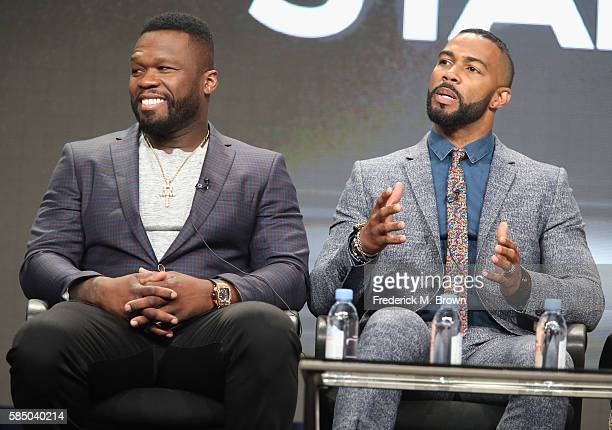 Executive producer/actor Kurtis '50 Cent' Jackson and actor Omari Hardwick speak onstage during the 'Power' panel discussion at the Starz portion of...