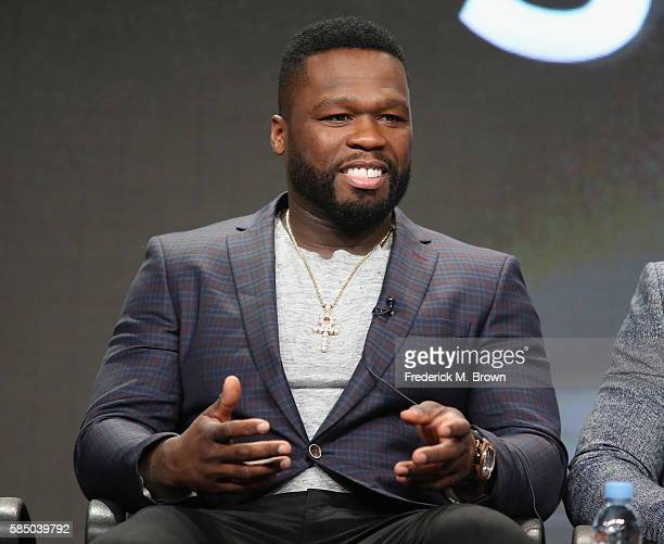 Executive producer/actor Kurtis '50 Cent' Jackson speaks onstage during the 'Power' panel discussion at the Starz portion of the 2016 Television...