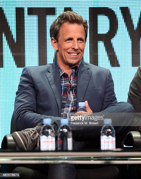 Executive producer/actor Seth Meyers speaks onstage during the 'Documentary Now' panel discussion at the AMC/IFC Networks portion of the 2015 Summer...