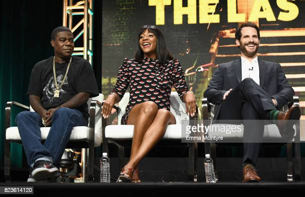 Executive producer/actor Tracy Morgan actors Tiffany Haddish and Ryan Gaul of 'The Last OG' speak onstage during the TCA Turner Summer Press Tour...