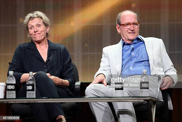 Executive producer/Actress Frances McDormand and actor Richard Jenkins speak onstage at the 'Olive Kitteridge' panel during the HBO portion of the...