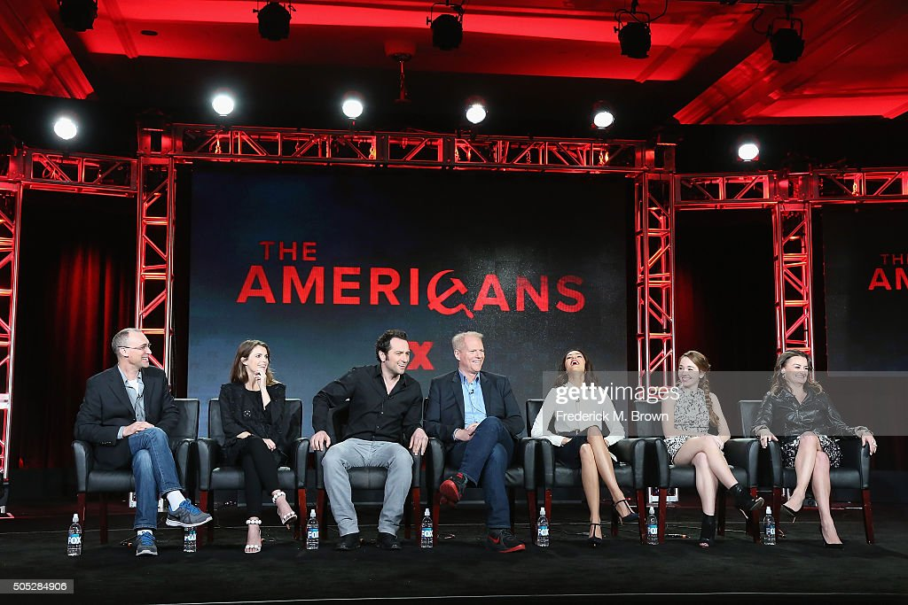 Executive Producer/Co-Showrunner/Writer Joel Fields, actors <a gi-track='captionPersonalityLinkClicked' href=/galleries/search?phrase=Keri+Russell&family=editorial&specificpeople=203250 ng-click='$event.stopPropagation()'>Keri Russell</a>, <a gi-track='captionPersonalityLinkClicked' href=/galleries/search?phrase=Matthew+Rhys&family=editorial&specificpeople=733972 ng-click='$event.stopPropagation()'>Matthew Rhys</a>, <a gi-track='captionPersonalityLinkClicked' href=/galleries/search?phrase=Noah+Emmerich&family=editorial&specificpeople=2739782 ng-click='$event.stopPropagation()'>Noah Emmerich</a>, <a gi-track='captionPersonalityLinkClicked' href=/galleries/search?phrase=Annet+Mahendru&family=editorial&specificpeople=7013540 ng-click='$event.stopPropagation()'>Annet Mahendru</a>, <a gi-track='captionPersonalityLinkClicked' href=/galleries/search?phrase=Holly+Taylor&family=editorial&specificpeople=8137665 ng-click='$event.stopPropagation()'>Holly Taylor</a> and <a gi-track='captionPersonalityLinkClicked' href=/galleries/search?phrase=Alison+Wright+-+Actress&family=editorial&specificpeople=2822437 ng-click='$event.stopPropagation()'>Alison Wright</a> speak onstage during 'The Americans' panel discussion at the FX portion of the 2015 Winter TCA Tour at the Langham Huntington Hotel on January 16, 2016 in Pasadena, California.