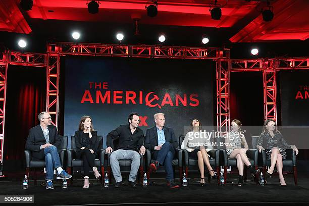 Executive Producer/CoShowrunner/Writer Joel Fields actors Keri Russell Matthew Rhys Noah Emmerich Annet Mahendru Holly Taylor and Alison Wright speak...