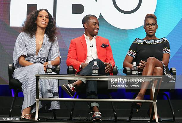 Executive producer/director Melina Matsoukas executive producer Prentice Penny and actress/executive producer/creator Issa Rae speak onstage during...