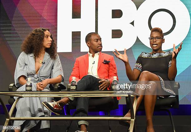 Executive producer/director Melina Matsoukas Executive producer Prentice Penny and Cocreator/executive producer/actress Issa Rae speak onstage during...