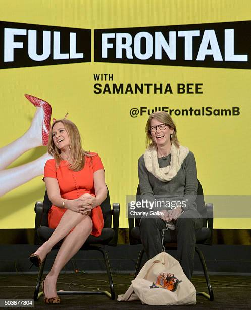 Executive producer/host Samantha Bee and executive producer Jo Miller of 'Full Frontal' speak onstage during the 2016 TCA Turner Winter Press Tour...