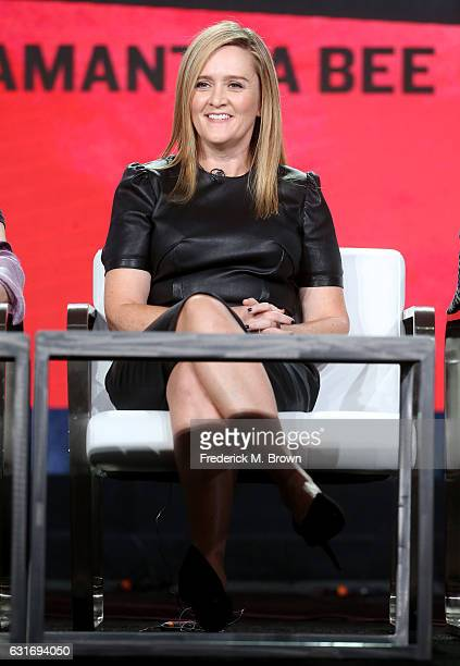 Executive producer/host Samantha Bee of 'Full Frontal with Samantha Bee' speaks onstage during the TBS portion of the 2017 Winter Television Critics...