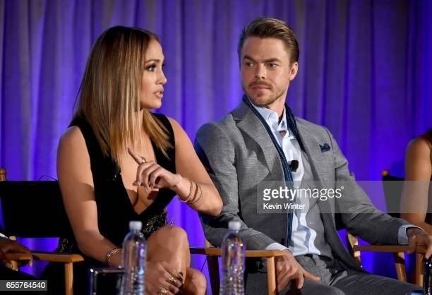 Executive producer/judge Jennifer Lopez and Judge Derek Hough of 'World Of Dance' speak onstage during the 2017 NBCUniversal Summer Press Day at The...