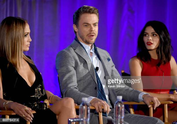 Executive producer/judge Jennifer Lopez Judge Derek Hough and Host Jenna Dewan Tatum of 'World Of Dance' speak onstage during the 2017 NBCUniversal...