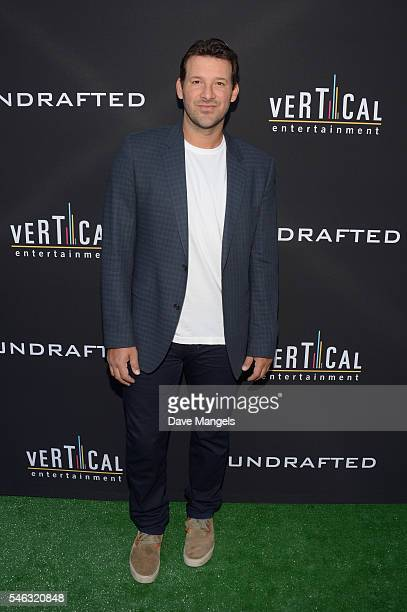 Executive producer/NFL quarterback Tony Romo attends the premiere of Vertical Entertainment's 'Undrafted' at ArcLight Hollywood on July 11 2016 in...