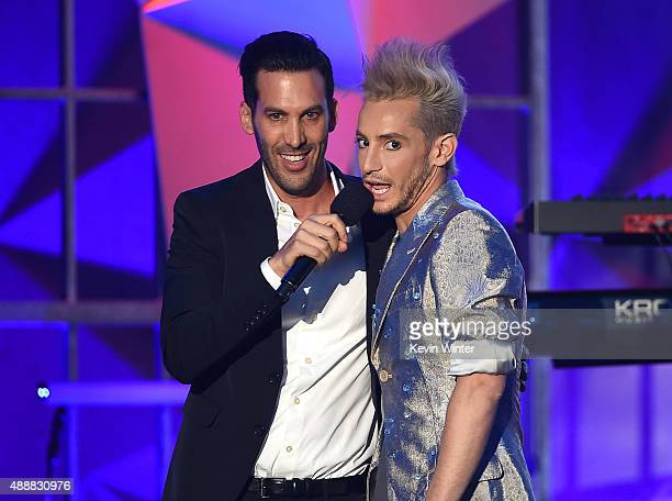 Executive Producers 5th Annual Streamy Awards Assaf Blecher and internet personality Frankie J Grande speak onstage at VH1's 5th Annual Streamy...