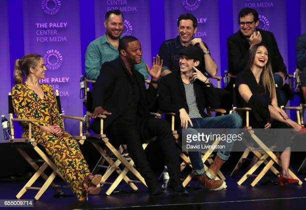 Executive producers Aaron Helbing Todd Helbing and Andrew Kreisberg and actors Caity Lotz David Ramsey Grant Gustin and Melissa Benoist appear on...