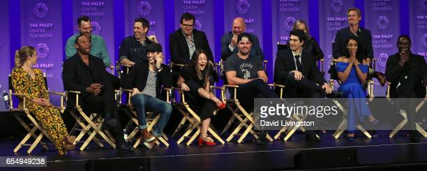 Executive producers Aaron Helbing Todd Helbing Andrew Kreisberg Marc Guggenheim Wendy Mericle and Phil Klemmer and actors Caity Lotz David Ramsey...
