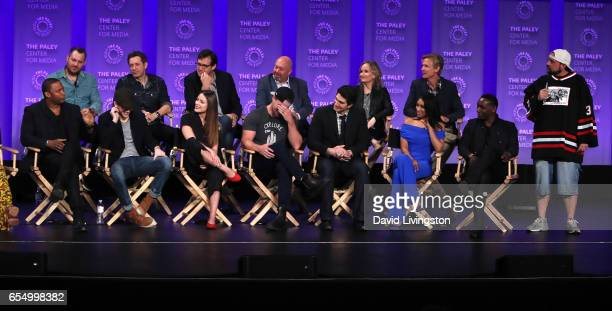 Executive producers Aaron Helbing Todd Helbing Andrew Kreisberg Marc Guggenheim Wendy Mericle and Phil Klemmer and actors David Ramsey Grant Gustin...