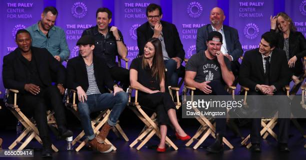 Executive producers Aaron Helbing Todd Helbing Andrew Kreisberg Marc Guggenheim and Wendy Mericle and actors David Ramsey Grant Gustin Melissa...