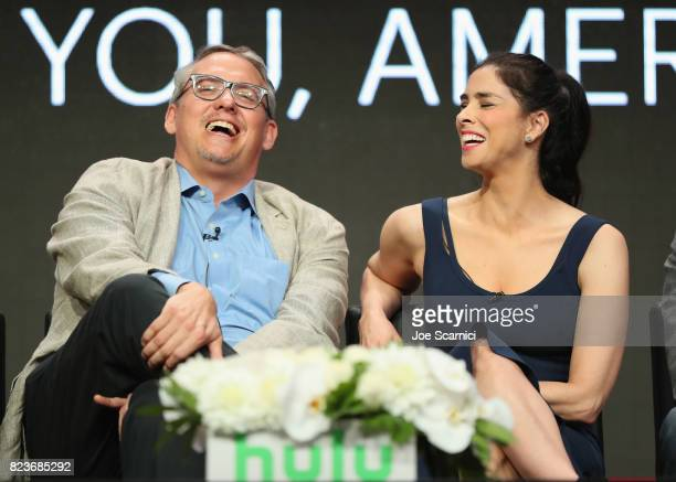 Executive producers Adam McKay and Sarah Silverman speak onstage during Summer TCA at The Beverly Hilton Hotel on July 27 2017 in Beverly Hills...